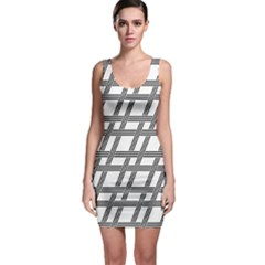 Grid Pattern Seamless Monochrome Bodycon Dress