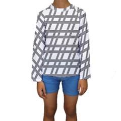 Grid Pattern Seamless Monochrome Kids  Long Sleeve Swimwear