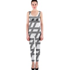 Grid Pattern Seamless Monochrome Onepiece Catsuit