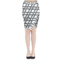 Grid Pattern Seamless Monochrome Midi Wrap Pencil Skirt