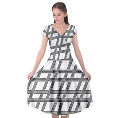 Grid Pattern Seamless Monochrome Cap Sleeve Wrap Front Dress