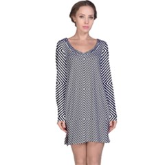 Diagonal Stripe Pattern Seamless Long Sleeve Nightdress