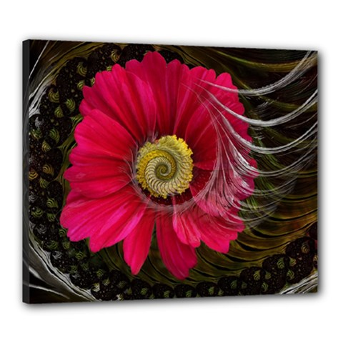 Fantasy Flower Fractal Blossom Canvas 24  X 20