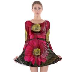 Fantasy Flower Fractal Blossom Long Sleeve Skater Dress