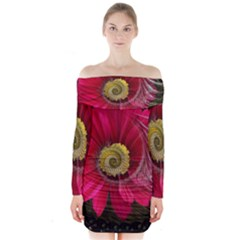 Fantasy Flower Fractal Blossom Long Sleeve Off Shoulder Dress
