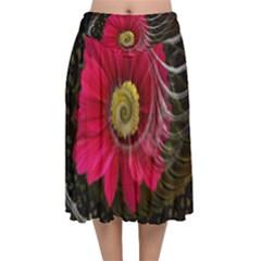 Fantasy Flower Fractal Blossom Velvet Flared Midi Skirt