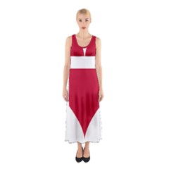 Heart Love Flag Denmark Red Cross Sleeveless Maxi Dress