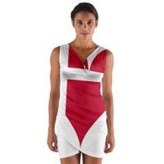 Heart Love Flag Denmark Red Cross Wrap Front Bodycon Dress