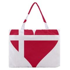 Heart Love Flag Denmark Red Cross Zipper Medium Tote Bag