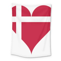 Heart Love Flag Denmark Red Cross Medium Tapestry