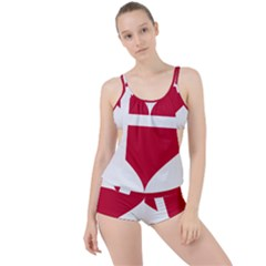 Heart Love Flag Denmark Red Cross Boyleg Tankini Set