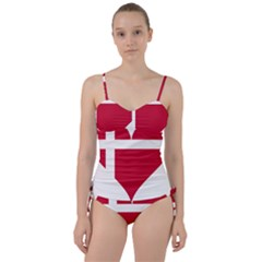 Heart Love Flag Denmark Red Cross Sweetheart Tankini Set