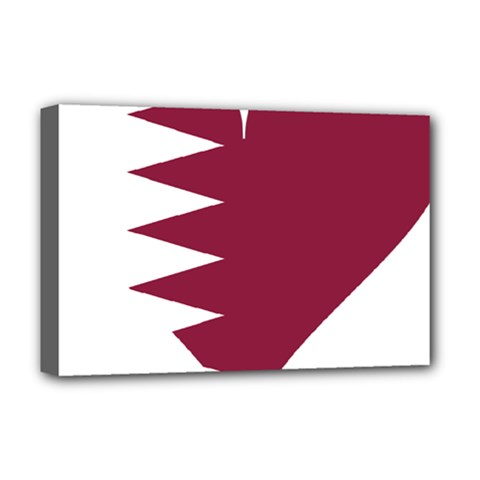 Heart Love Flag Qatar Deluxe Canvas 18  X 12