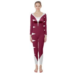 Heart Love Flag Qatar Long Sleeve Catsuit