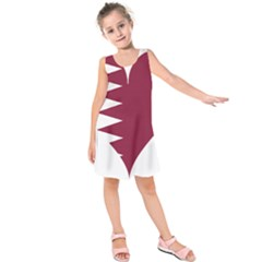 Heart Love Flag Qatar Kids  Sleeveless Dress