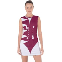 Heart Love Flag Qatar Lace Up Front Bodycon Dress