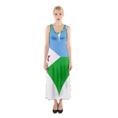 Heart Love Flag Djibouti Star Sleeveless Maxi Dress