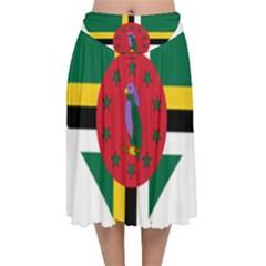 Heart Love Flag Antilles Island Velvet Flared Midi Skirt