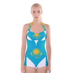 Heart Love Flag Sun Sky Blue Boyleg Halter Swimsuit