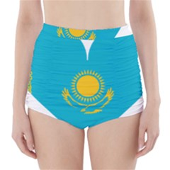 Heart Love Flag Sun Sky Blue High Waisted Bikini Bottoms