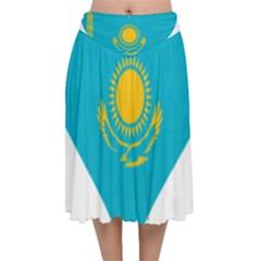 Heart Love Flag Sun Sky Blue Velvet Flared Midi Skirt