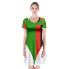 Heart Love Heart Shaped Zambia Short Sleeve V Neck Flare Dress