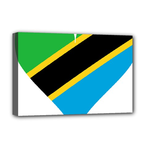 Heart Love Tanzania East Africa Deluxe Canvas 18  X 12