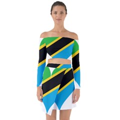 Heart Love Tanzania East Africa Off Shoulder Top With Skirt Set