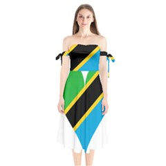 Heart Love Tanzania East Africa Shoulder Tie Bardot Midi Dress