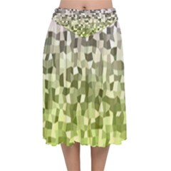 Irregular Rectangle Square Mosaic Velvet Flared Midi Skirt