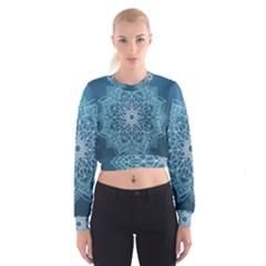 Mandala Floral Ornament Pattern Cropped Sweatshirt