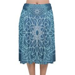 Mandala Floral Ornament Pattern Velvet Flared Midi Skirt