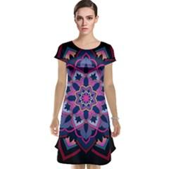 Mandala Circular Pattern Cap Sleeve Nightdress