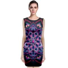 Mandala Circular Pattern Sleeveless Velvet Midi Dress