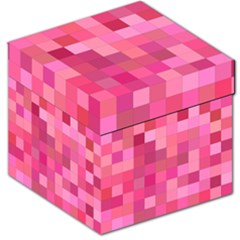 Pink Square Background Color Mosaic Storage Stool 12