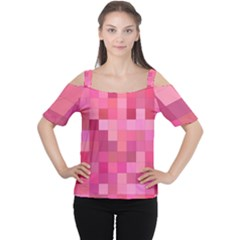 Pink Square Background Color Mosaic Cutout Shoulder Tee