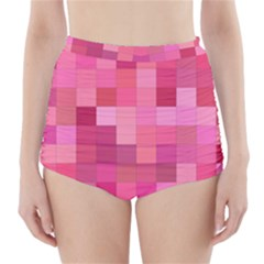 Pink Square Background Color Mosaic High Waisted Bikini Bottoms