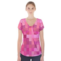 Pink Square Background Color Mosaic Short Sleeve Front Detail Top