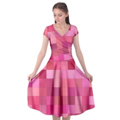 Pink Square Background Color Mosaic Cap Sleeve Wrap Front Dress