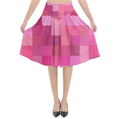 Pink Square Background Color Mosaic Flared Midi Skirt