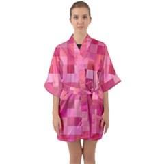 Pink Square Background Color Mosaic Quarter Sleeve Kimono Robe