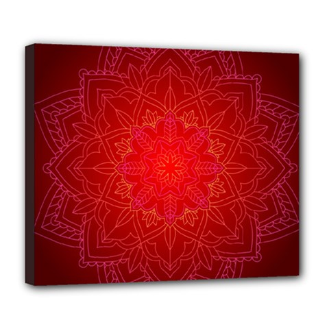 Mandala Ornament Floral Pattern Deluxe Canvas 24  X 20