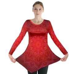 Mandala Ornament Floral Pattern Long Sleeve Tunic