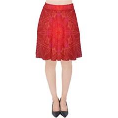 Mandala Ornament Floral Pattern Velvet High Waist Skirt