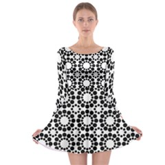 Pattern Seamless Monochrome Long Sleeve Skater Dress