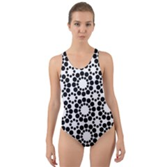 Pattern Seamless Monochrome Cut Out Back One Piece Swimsuit