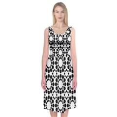 Pattern Seamless Monochrome Midi Sleeveless Dress