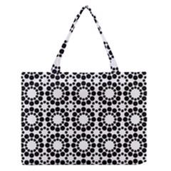 Pattern Seamless Monochrome Zipper Medium Tote Bag
