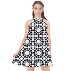 Pattern Seamless Monochrome Halter Neckline Chiffon Dress