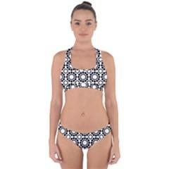 Pattern Seamless Monochrome Cross Back Hipster Bikini Set
